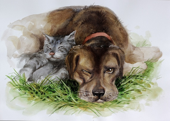 Multiple Pet Portrait Custom Illustration Print Personalised Dog Gift For Owners Cat Gift Customised Drawing Unframed Pets Cats Dogs