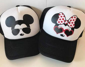 Minnie and Mickey ADULT or YOUTH Hats   Couples Hats   Disney Trucker Hats    Minnie Sunglasses   Mickey Sunglasses   Black and White 3680e6fc71d