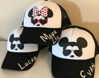 c39c276ada4 Custom Minnie and Mickey ADULT or YOUTH Size Hats   Disney Trucker Hats    Minnie Sunglasses   Mickey Sunglasses   Black and White   Snapback