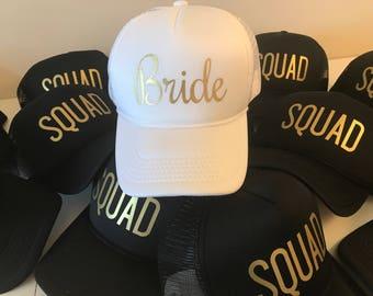 Bride Squad Hats / Bride Tribe Hats / Bachelorette Party / Bridal Party / Bride to Be / Bridemaids / Bridemaids Gifts