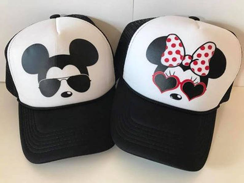 f4f85929232b7a Minnie and Mickey ADULT or YOUTH Hats / Couples Hats / Disney | Etsy