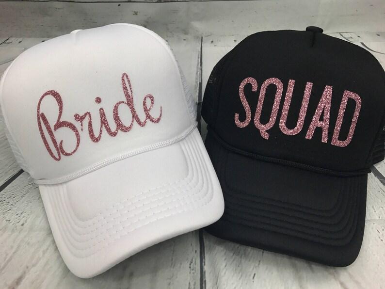 3d61530f6b273 Bride Squad ROSE GOLD GLITTER Hats   Bride Tribe Hats