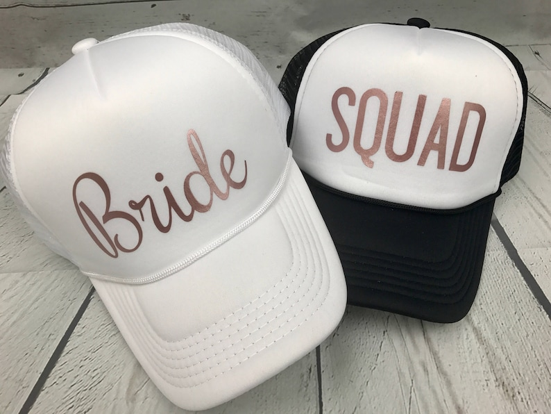 df7d73ea763d4 Rose Gold Bride Squad Hats   Bride Tribe Hats   Bachelorette