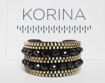 Black Zipper Bracelet - Cuff Bracelet - Zipper Jewelry - Rock n' Roll Jewelry - Beaded Bracelet - Glass Beads