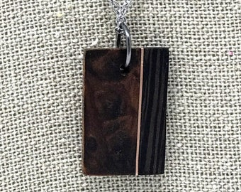 Exotic Redwood Burl, Copper, and Wenge necklace pendant