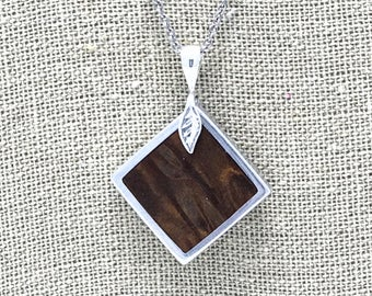 Exotic Redwood Burl and aluminum necklace pendant