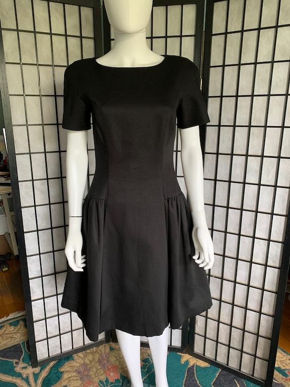 Arnold Scaasi Black Cotton Dress