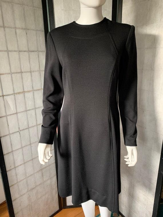 Pauline Trigere Black Wool Dress - image 2