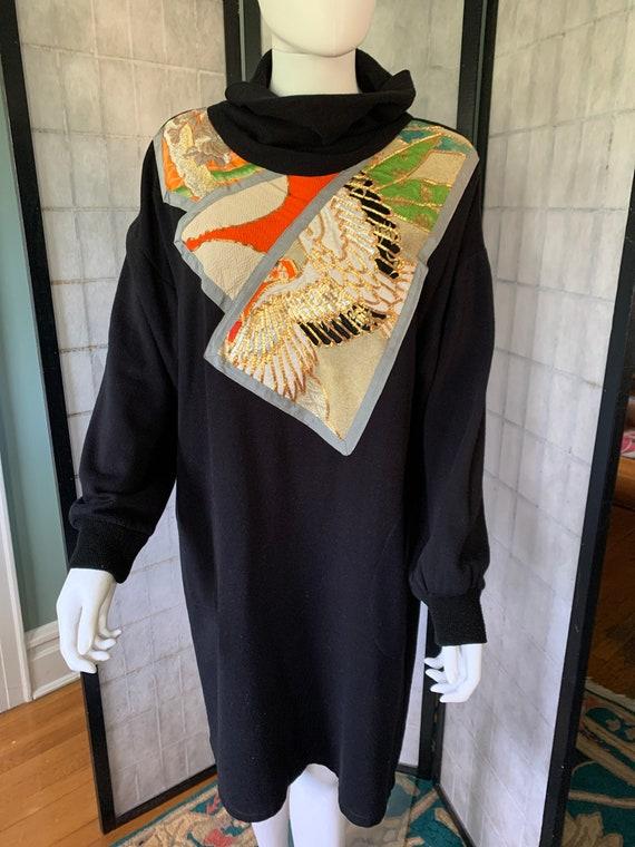 Obi adorned Black Sweatshirt Material Dress