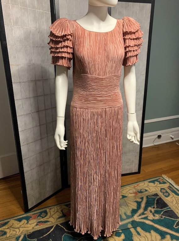 Mary McFadden Pilk Silk Gown with Fortuny-Like Ple