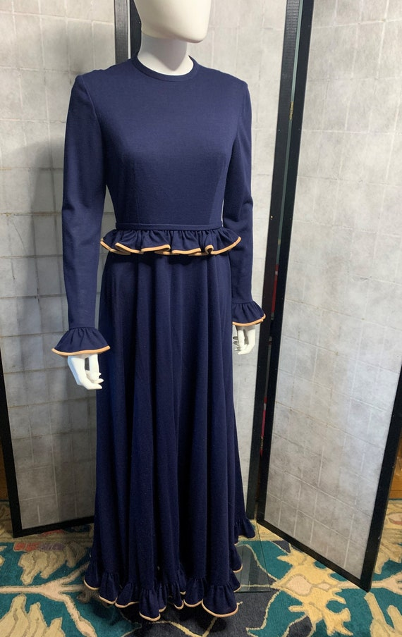 Anne Fogarty Navy Blue Wool Knit Maxi Dress 1970's