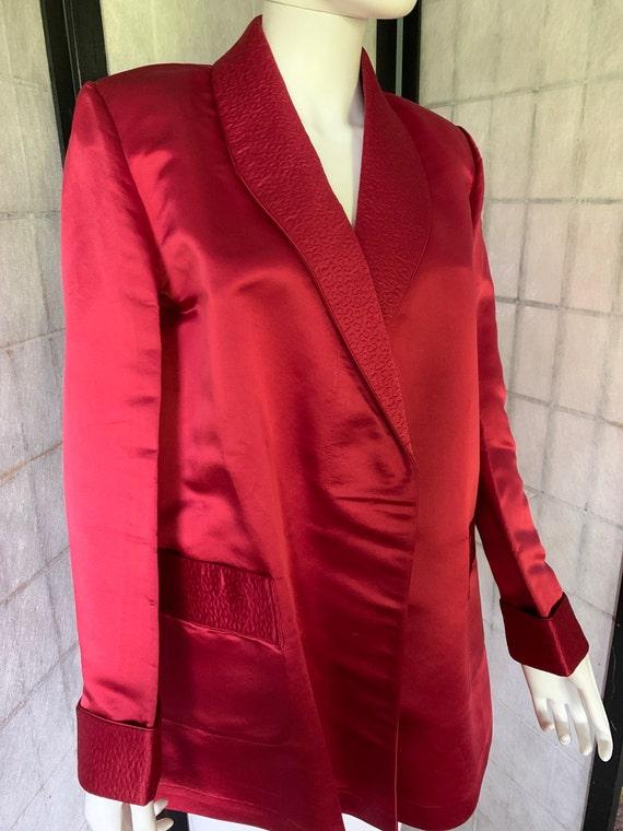 Jim Heilman Red Silk Jacket with Trapunto Work