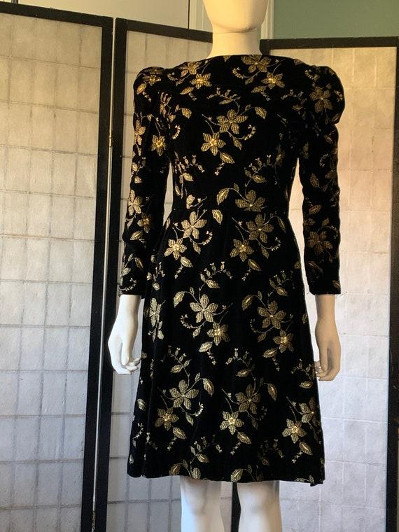 Arnold Scaasi Boutique Black Velvet and Gold Embr… - image 1