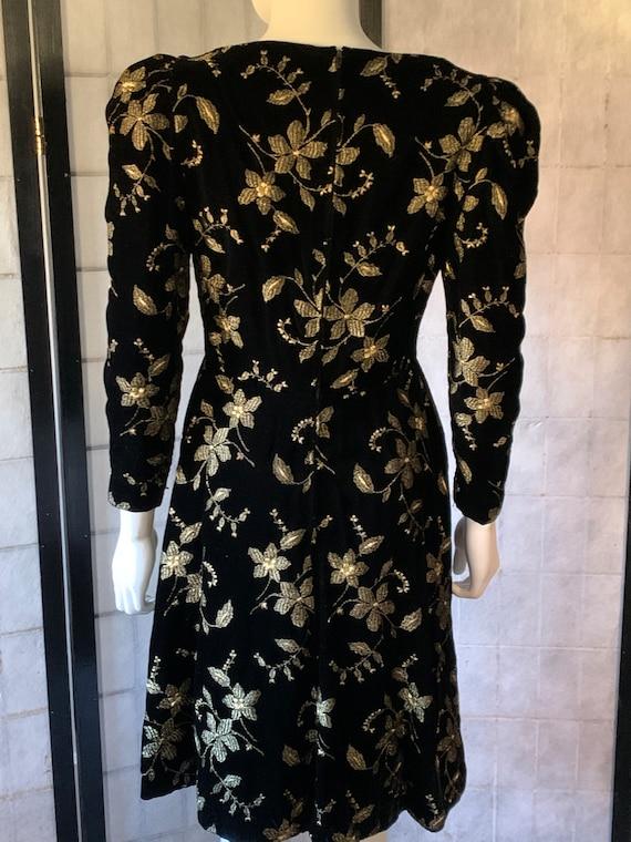 Arnold Scaasi Boutique Black Velvet and Gold Embr… - image 3