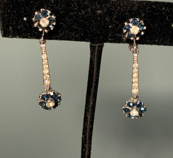 Signed Pinetta Faux Diamond and Sapphire Dangling