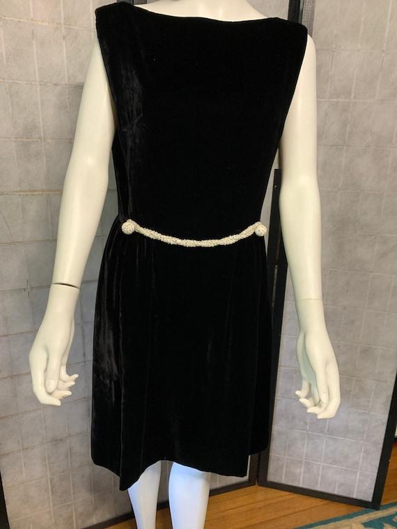 1970's Victor Costa Black Velvet Sleeveless Dress