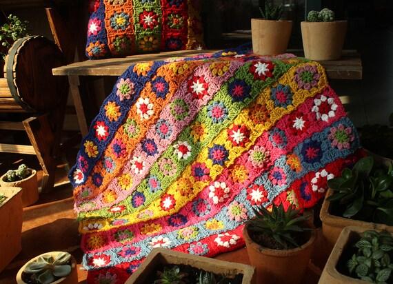 Blumen Decke Oma Quadrat Häkeln Sofa Werfen Afghan Geschenk Etsy