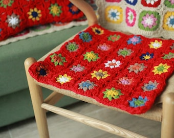 Granny Square Crochet Cushions,100%Handmade,Red Cushion,Crochet Pillow Case,Chair Cushion Pad,Decorative Pillows,Crocheted Throw Pillow