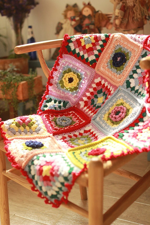Handgemachte Decke Retro häkeln Decke Oma Square Häkeldecke | Etsy