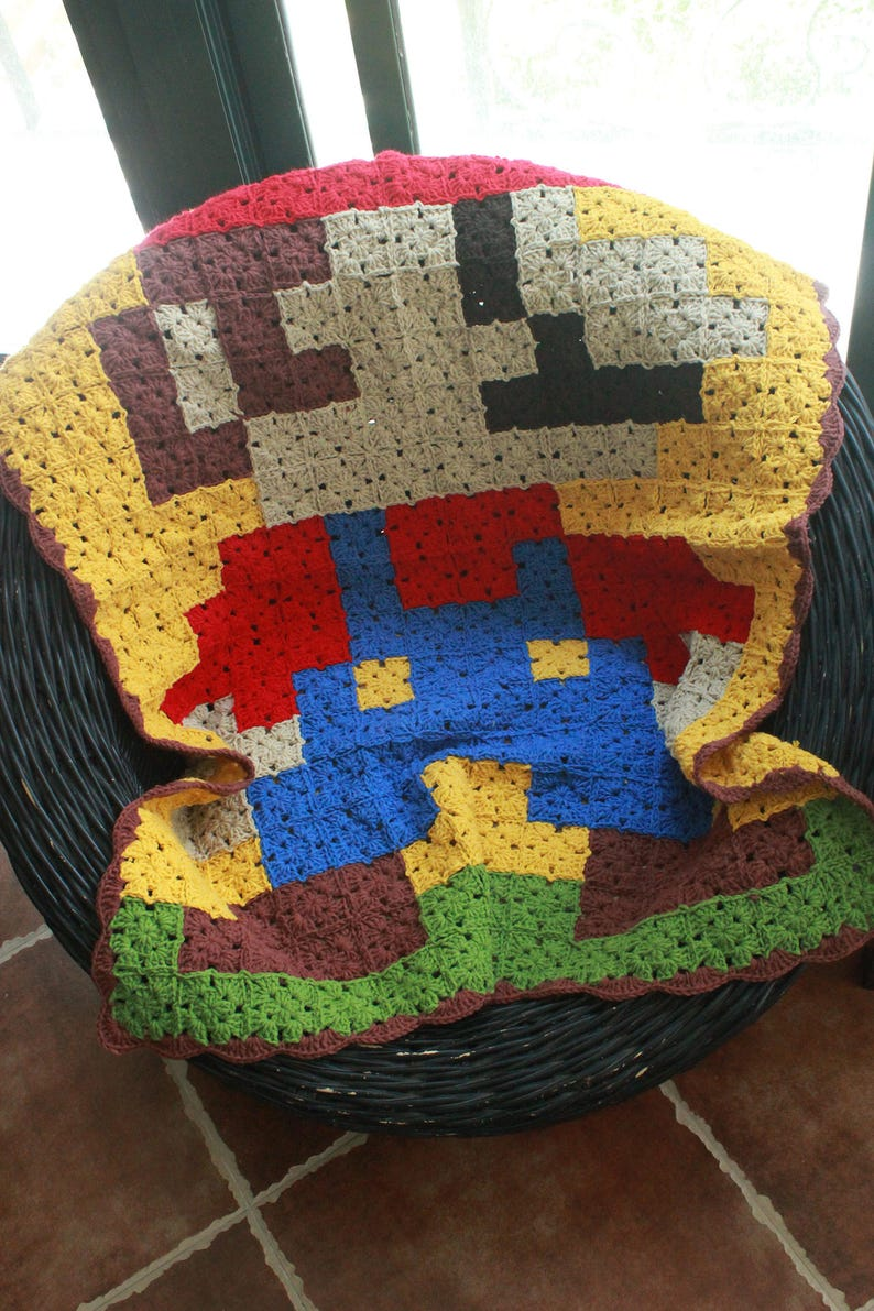 Etsy & Super Mario Pixel Afghan BlanketGranny Square Crochet Sofa ThrowCrocheted Table CoverTableclothGift For childBirthday GiftPersonalized
