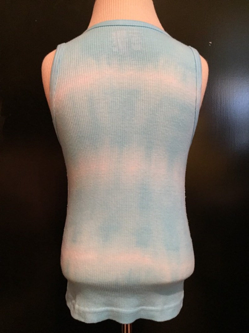 bubblegum turquoise pink /& white tie-dye tank top unisex for toddlers 4T 5T handmade hand dyed