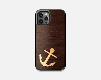 Anchor - Real Wood iPhone Case - iPhone 12 Pro/Max/Mini, 11/11 Pro/Max, XR, XS Max, X/XS, 8/7, 8/7 Plus - Made in Canada by Keyway Designs