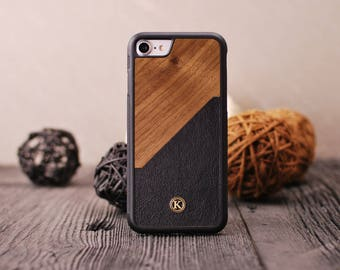 Walnut Rift - Real Wood iPhone Case - iPhone X, 8/7, 8/7 Plus, 6s, 6s Plus, SE/5s - Made in Canada by Keyway Designs - FREE SHIPPING