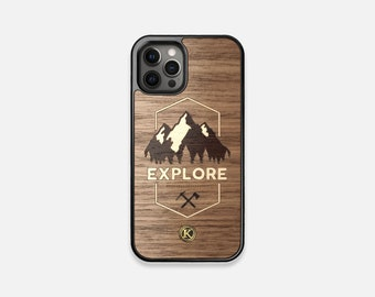 Explore - Real Wood iPhone Case - iPhone 12 Pro/Max/Mini, 11/11 Pro/Max, XR, XS Max, X/XS, 8/7, 8/7 Plus - Made in Canada by Keyway Designs