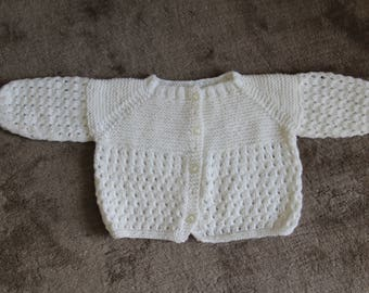 White Cardigan hand/handmade vintage antique child's dating back to the 1950/1960