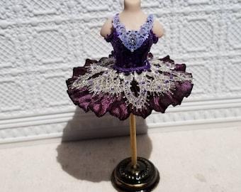 Miniature dollhouse purple sequined ballet tutu, 1:12 scale