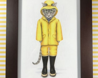 Gray rain cat/ fisher cat print in a brown wood frame