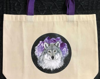 Wolf in space with amethyst tote bag