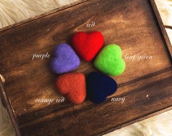 Felted props, felted stuffy toys, newborn photography props, photo props, Felted Hearts props, felted wool hearts