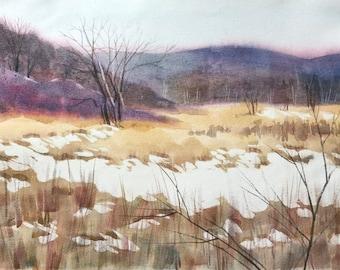 "Original watercolor painting ""Winter's Palette"" landscape winter scene snow"