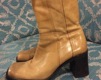 57af48bed4d7f Vintage 90s Beige   Cream Chunky Heel Ankle Boots Aldo