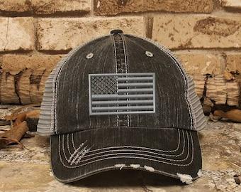 155908f4c6f Customized USA Flag Distressed Trucker Cap