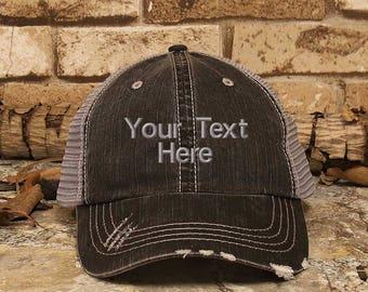 Customized Trucker Hat, Personalized Baseball Cap, Distress Hat, Custom Embroidery