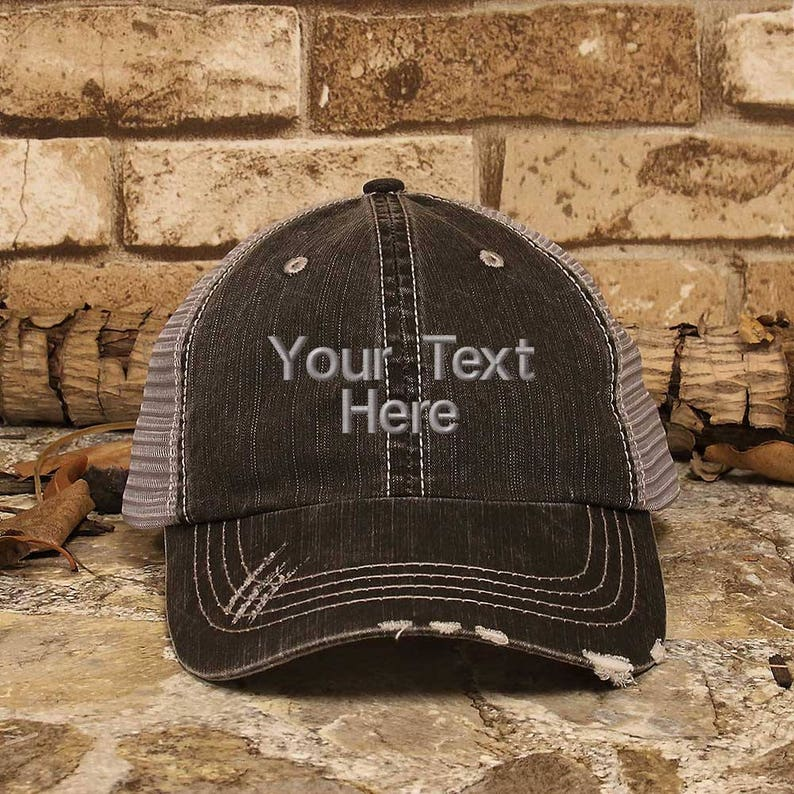 f73a7bbc3836d Customized Trucker Hat Personalized Baseball Cap Distress