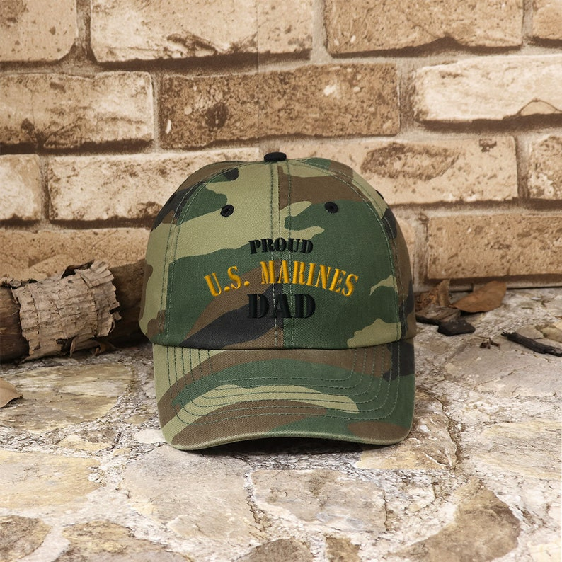 91135b49867 Customized Proud U.S. Dad Enzyme Washed Camouflage Cap