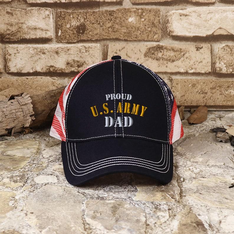 23d881edc7bbe Customized Proud U.S. Dad Patriot Mesh Cap