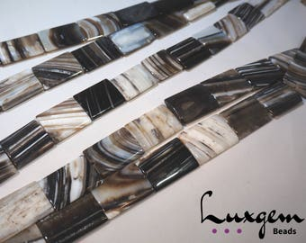 Black Sardonyx - 25x35mm - Rectangle beads - natural agate - manufacture offers -ON084