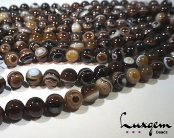 Black Sardonyx - 18mm - Round beads - natural agate - manufacture offers -A0073