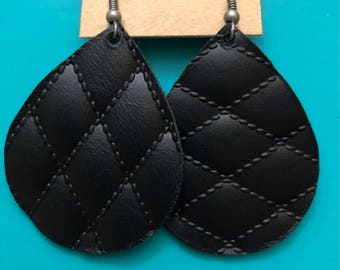 Genuine Leather Earrings- quilted pattern