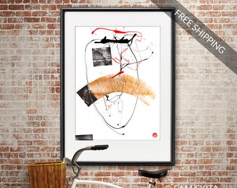 contemporary home art room decor Abstract Painting original modern Minimal Abstract home Wall art black and white wall art graphics monotype