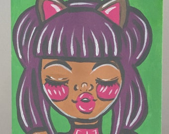 Little Kitty - Original A4 Acrylic Painting Girl with Cat Ears