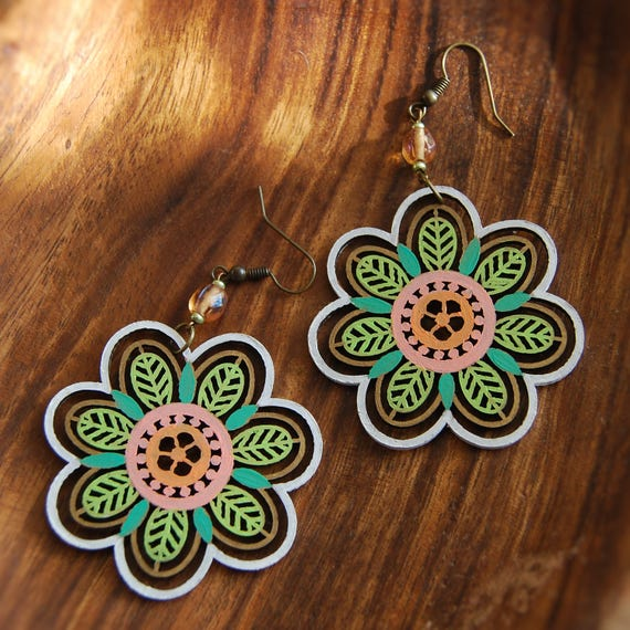 Wooden Flower Mandala Earrings