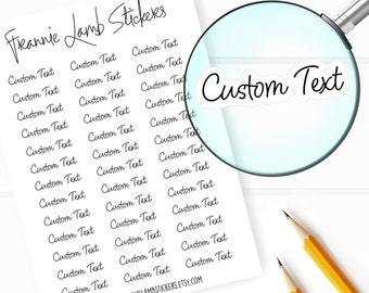 2194ed94e58e CUSTOM text/word Stickers (COLOR OPTIONS), Choice of Clear Matte, White  Matte or Clear Gloss Paper, Custom Labels, Personalized Stickers