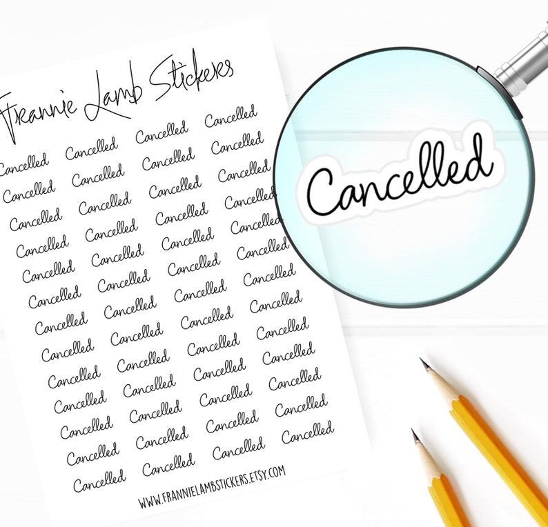 Cancelled Planner Stickers (COLOR OPTIONS), 52 Stickers, Choice of Clear  Matte or White Matte Sticker Paper, Planner Stickers