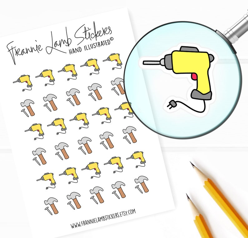 Drill and Construction Planner Stickers Chore Stickers for image 0