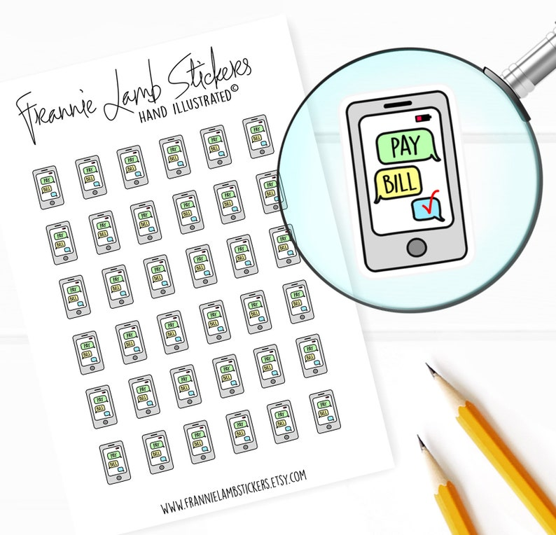 Phone Bill Planner Stickers Bill Reminder Stickers for image 0
